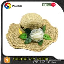 Chapéus de palha de flor de qualidade superior fabricados na China