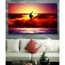 Arte de la pared de la lona de la lona que practica surf