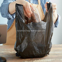Bolsa de transporte de camisetas de comestibles de plástico negro liso