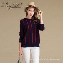 2017 Mujeres Otoño Nueva Colorido Cuello Redondo de Rayas Thin KnittedCashmere Sweater