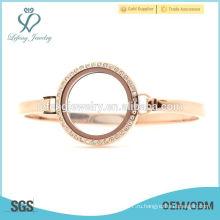 Дешевые 30 мм 7 '' - 8 '' Розовое золото нержавеющей стали плавающей часы медальон, розовое золото манжета браслет