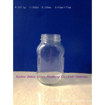 392ml Flat Shape Clear Glass Honey Jar with Screw Cap Dh019