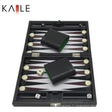 Jeux de Backgammon de 9 pouces avec boîte en cuir noir