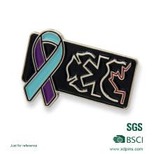 Emblema feito sob encomenda do Pin da organização do esmalte do logotipo da fita do metal