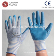 nylon gloves coated with nitrile on palm,smooth finish,13 gauge zebra style