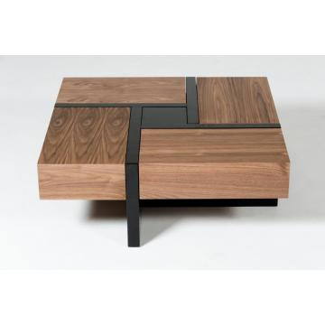 Modern Walnut and Black Square Coffee Table