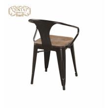 Armest jantar cadeiras com assento de madeira / Marais metal jantar poltrona / Pó Revestido Marai Café cadeira