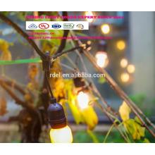 Luces de cadena LST-180 con bombillas transparentes, luces para patio de patio trasero listadas por UL, luces colgantes interiores / exteriores de cuerda vde ul