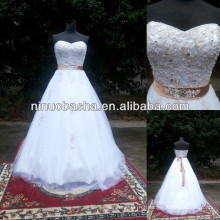 NW-480 Appliques Beaded Top Ball Gown Real Sample Wedding Dress 2014