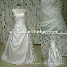 JJ2654 ein Schulter-Fettgröße Hochzeitskleid Satin Stoff