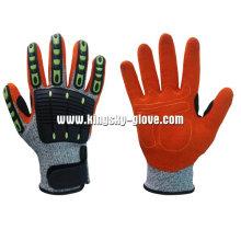 13G Hppe Liner Sandy Finish Nitrile Palm TPR Guante de trabajo