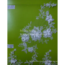 Tecido de renda de Tulle branco para vestido de noiva Tecido de rendas em bordado 3D CMC063AB
