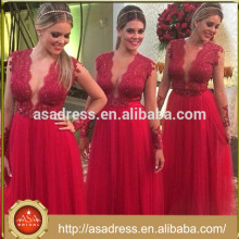 ABS-007 2015 Novo design Sexy See Through Wedding Party Vestidos Tulle Long Sleeve Red vestido de dama de honra