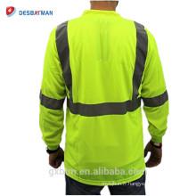 Salut-vis Hommes T-shirt 100% Polyester Oiseaux oeil Mesh Moisture Mèche À Manches Longues Bandes Réfléchissantes Hommes T-shirt avec Poche