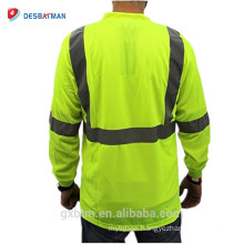 Hi-vis Men Tee 100% Polyester Birds eye Mesh Moisture Wicking Long Sleeve Reflective Tapes Men T Shirt with Pocket