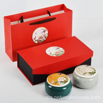 Pembungkusan Magnetic Tea Recycled Gift Box Red