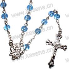 Venta al por mayor collar redondo de cristal de 6mm de los granos religiosos del rosario