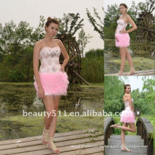 Astergarden реальные фото розовый бисером короткое платье без бретелек перо AS140