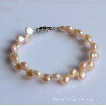2 filas pulsera de perlas de agua dulce de la moneda de la manera (EB1520-1)