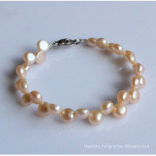 2 Rows Fashion Coin Freshwater Pearl Bracelet (EB1520-1)