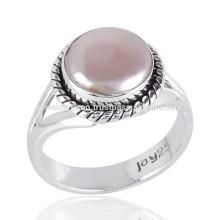 Pearl Cab Gemstone Simple Design Bague en argent sterling fait à la main pour tous
