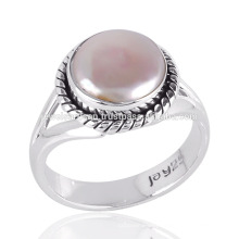 Pearl Cab Gemstone Simple Design Handmade Sterling Silver Ring for All