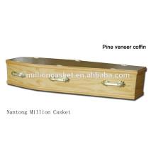 Caixão de aplicativo adulto 6 de caixão de madeira de folheado de pinho de DH-103 manipula on-line