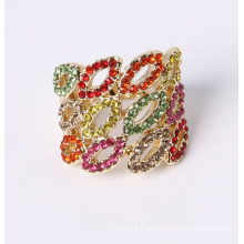 Fashion Lip Shape Jewelry Ring with Rhinestones
