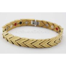 Rayon infrarouge de germanium Rayon d'ions négatif Puissance Engergy Bracelets en bonne santé Bracelet en braille mâle en or plaqué or 18 carats