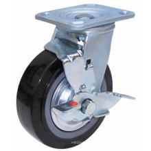 Swivel PU Caster with Side Brake(Black)