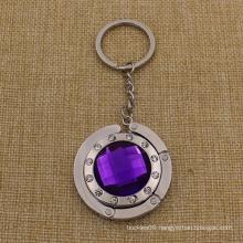 Custom Metal Foldable Crystal Bag Hanger with Keychain