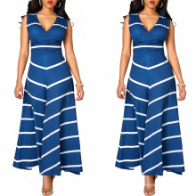 Las muchachas del verano de la moda nuevo modelo de fiesta de la raya de las muchachas imprimieron el vestido sin mangas de la raya del chevron