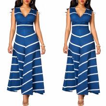 Moda verão mulheres novo modelo menina partido listra meninas impresso chevron stripe vestido sem mangas