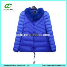 bright blue color warm winter jacket women