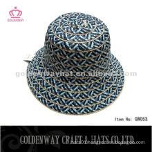 Ladies Short Brim Straw Cloche Hat dark color for summer