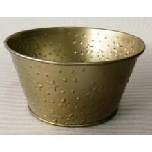 Gold flower arrangement tin bucket