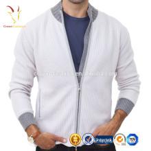 Homens tripulação pescoço jaqueta de cashmere Elbow Patch Cardigan zipper sweater clothing