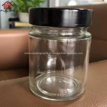 frasco redondo de vidro âmbar de lados retos com tampa de metal preto 200ml