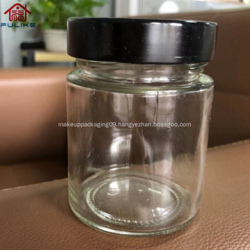 amber glass straight-sided round jar with black metal lid200ml