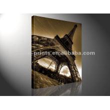 A torre Eiffel imprime a decoração da exposição da arte da parede da pintura da lona