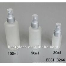 Botella de vidrio de la loción de la helada 30/50 / 100ml / 150ml con el srayer y el casquillo plásticos