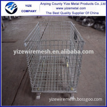 Heavy duty 4 layers stackable wire mesh container /storage metal cage with wheels (manufacturer)