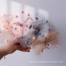 Yarn Bow Knot Headband Luxury Hair Accessories Korean Handmade Plush Princess Hairband Sweet For Women Girls Gift Party