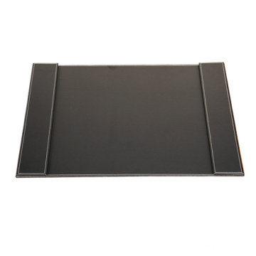 Classic Black PU Leather Desk Pad with Two Side Panels