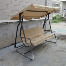 Outdoor 3 seats swing with fabric cushions and canopy