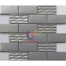 Rippling and Smooth Face Mixed Silver Stainless Steel Mosaic (CFM873)