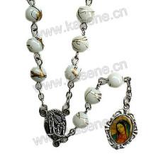6mm Baking Varnished White Glass Rosary, Religious Catholic Rosary