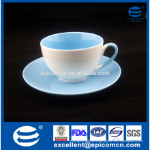 2 color glazed tea cup with plate