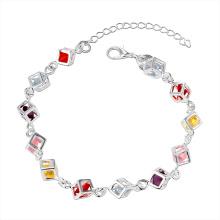 Vente chaude en pierre colorée à carreaux Nouvelle conception 925 volant bracelet en acier Bracelet charme Bracelet à la mode