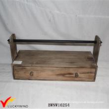 Farm Vintage Brown Handcrafted Wooden Ribbon Holder Rack